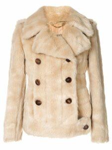 Gucci Pre-Owned Logos Long Sleeve Fur Coat Jacket - Brown