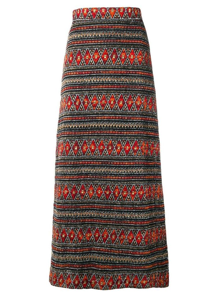 A.N.G.E.L.O. Vintage Cult 1960's aztec embroidered skirt - Black