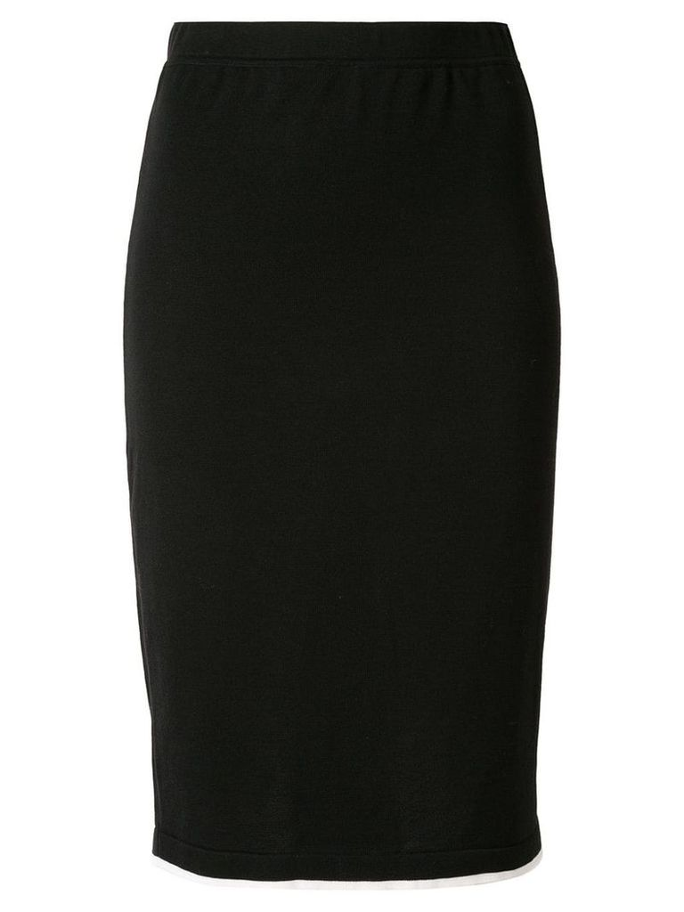 Chanel Pre-Owned CC logos tight skirt - Black