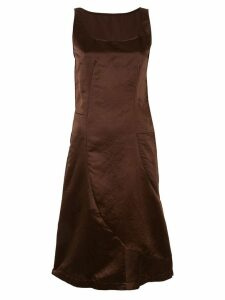 COMME DES GARÇONS PRE-OWNED crinkle-effect midi dress - Brown