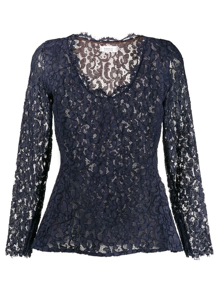 Yves Saint Laurent Vintage 1990's lace peplum top - Blue