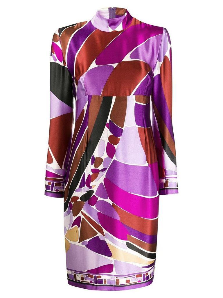 Emilio Pucci Vintage 2000's pritned high-neck dress - Purple