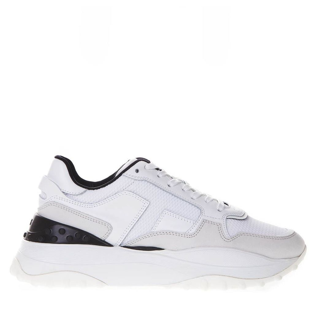 Tod's White And Black Sneakers In Leather And Mesh
