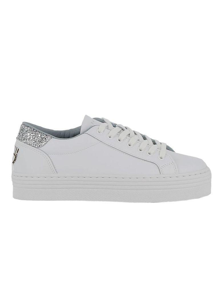 Chiara Ferragni White/silver Leather Sneakers