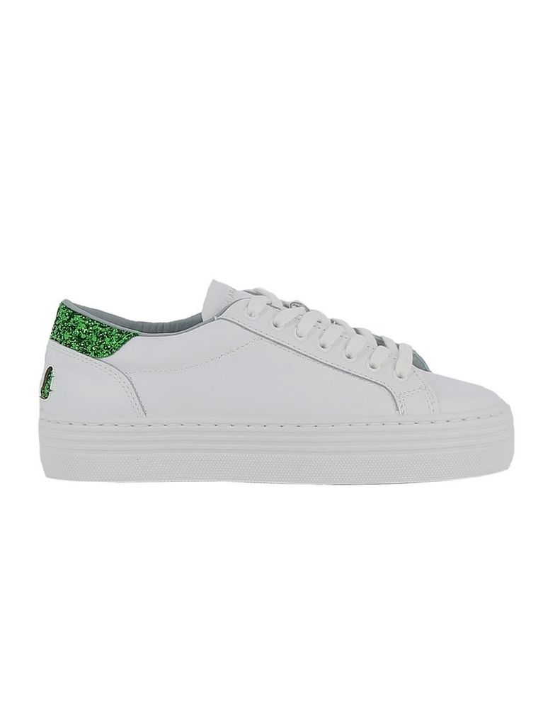 Chiara Ferragni White/green Leather Sneakers