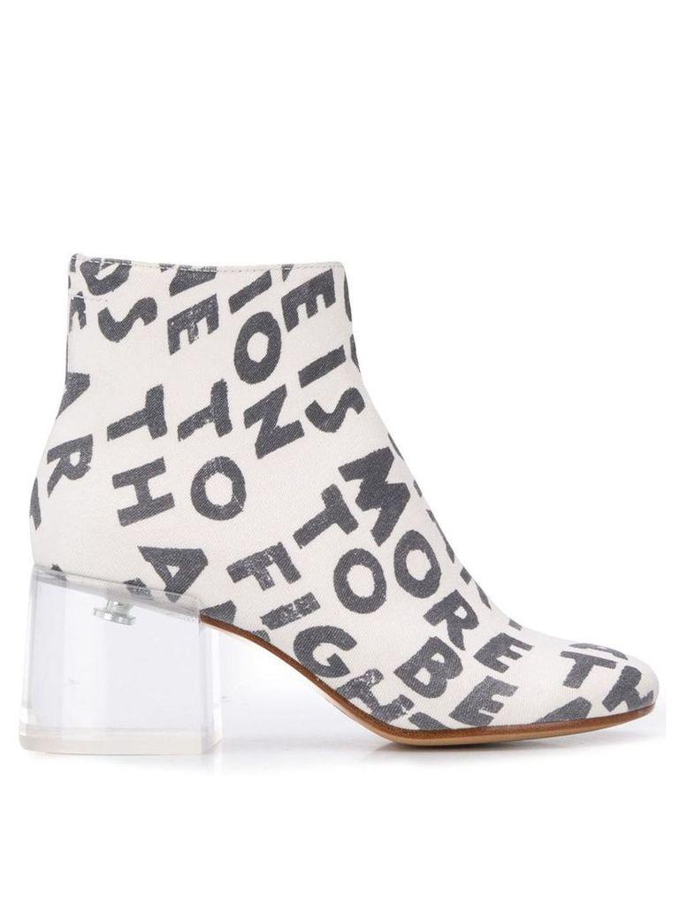 Mm6 Maison Margiela text print ankle boots - White