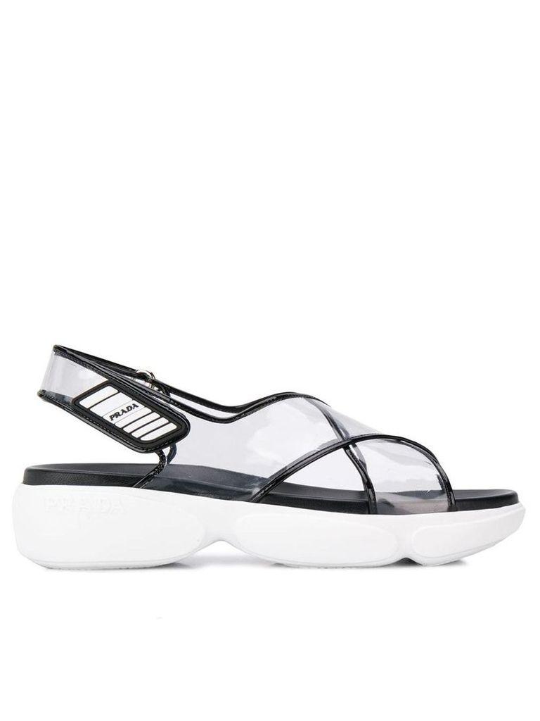 Prada transparent flatform sandals - Black
