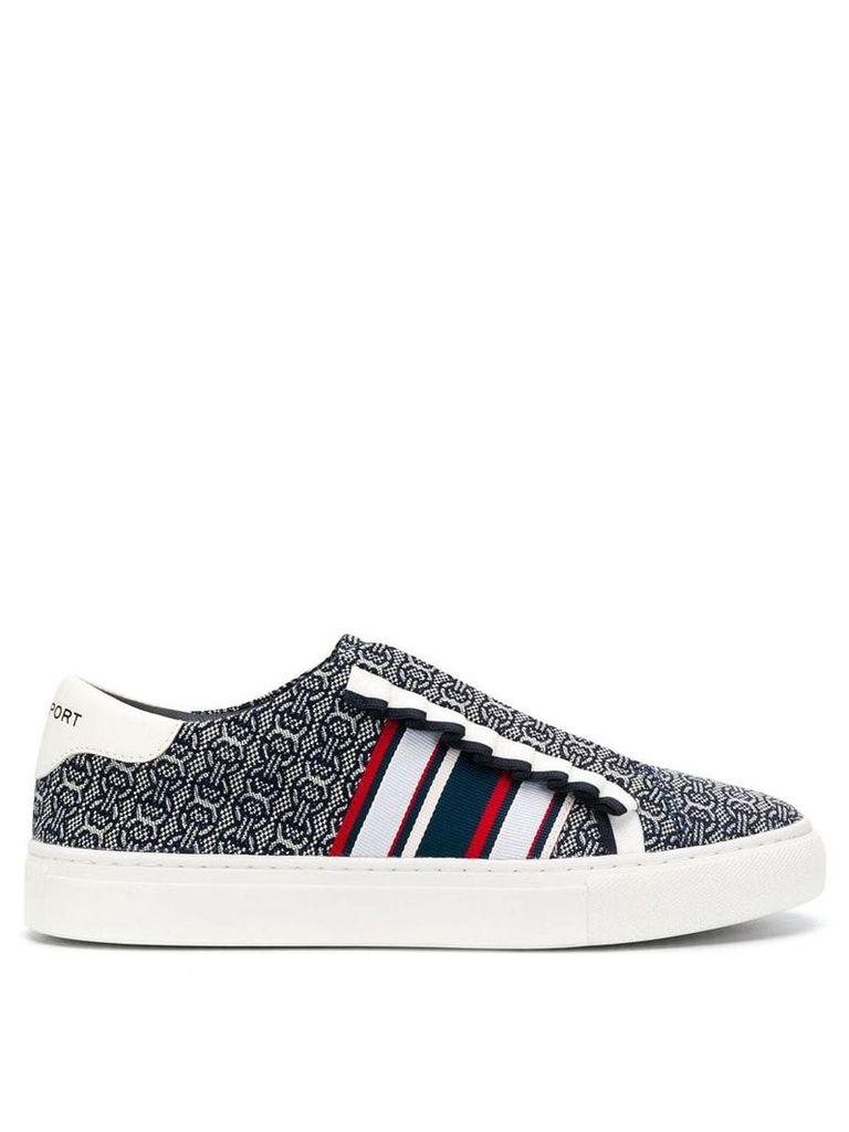 Tory Burch patterned low top sneakers - Blue
