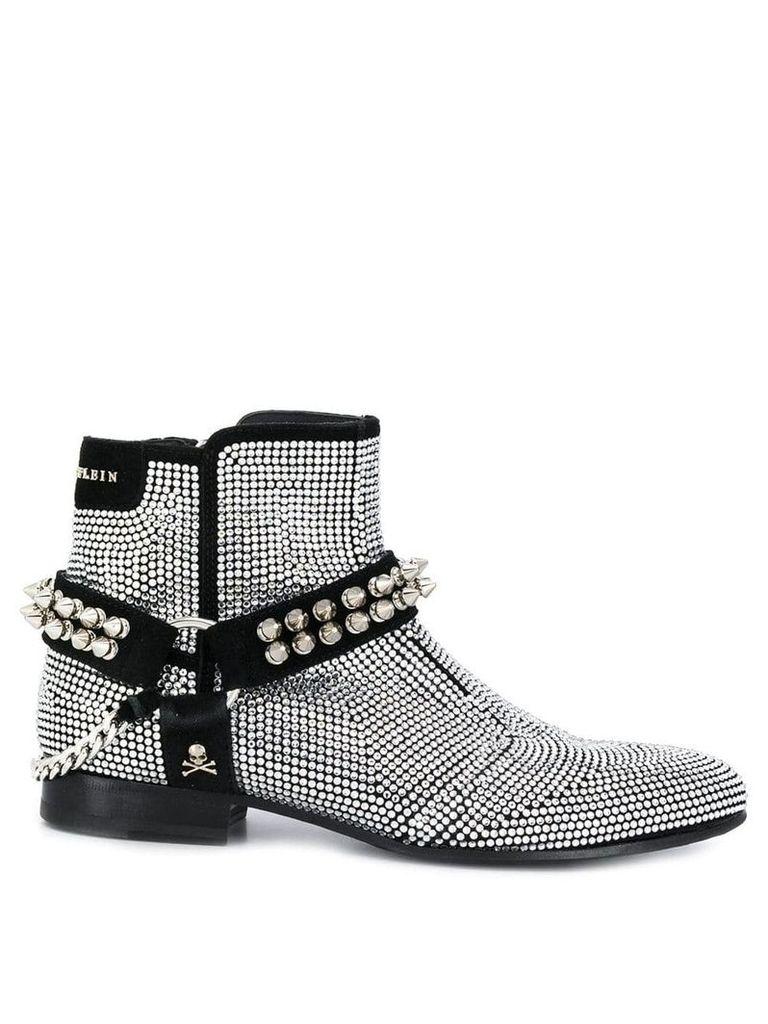 Philipp Plein crystal embellished biker boots - Silver