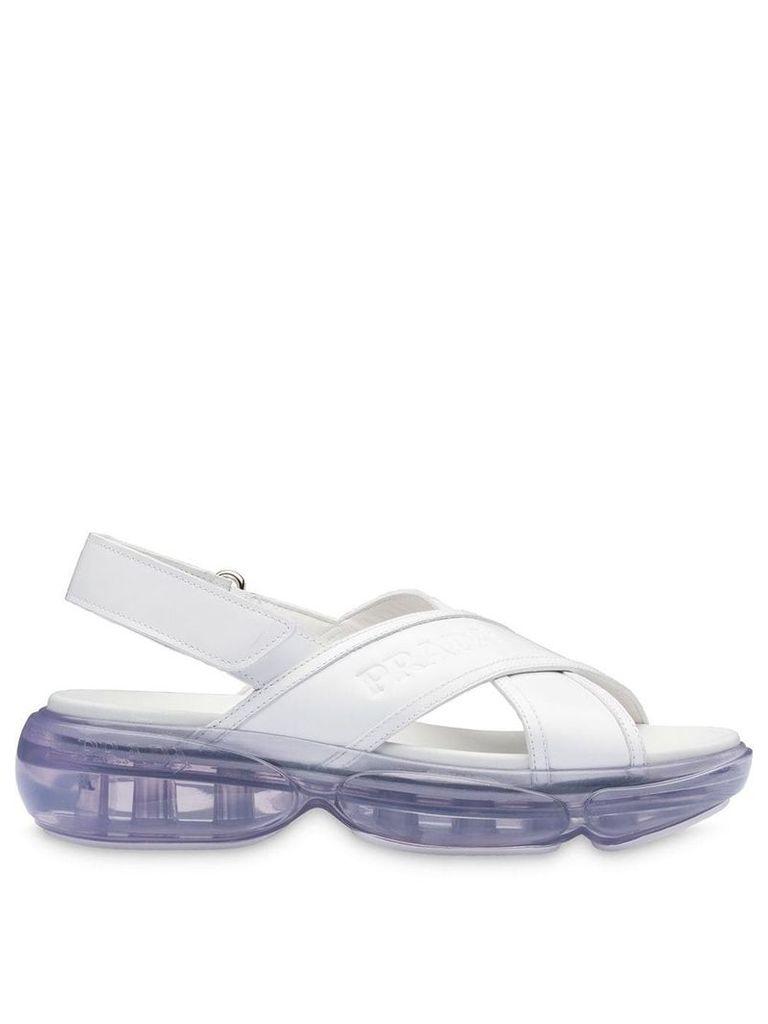 Prada Cloudbust brushed leather sandals - White