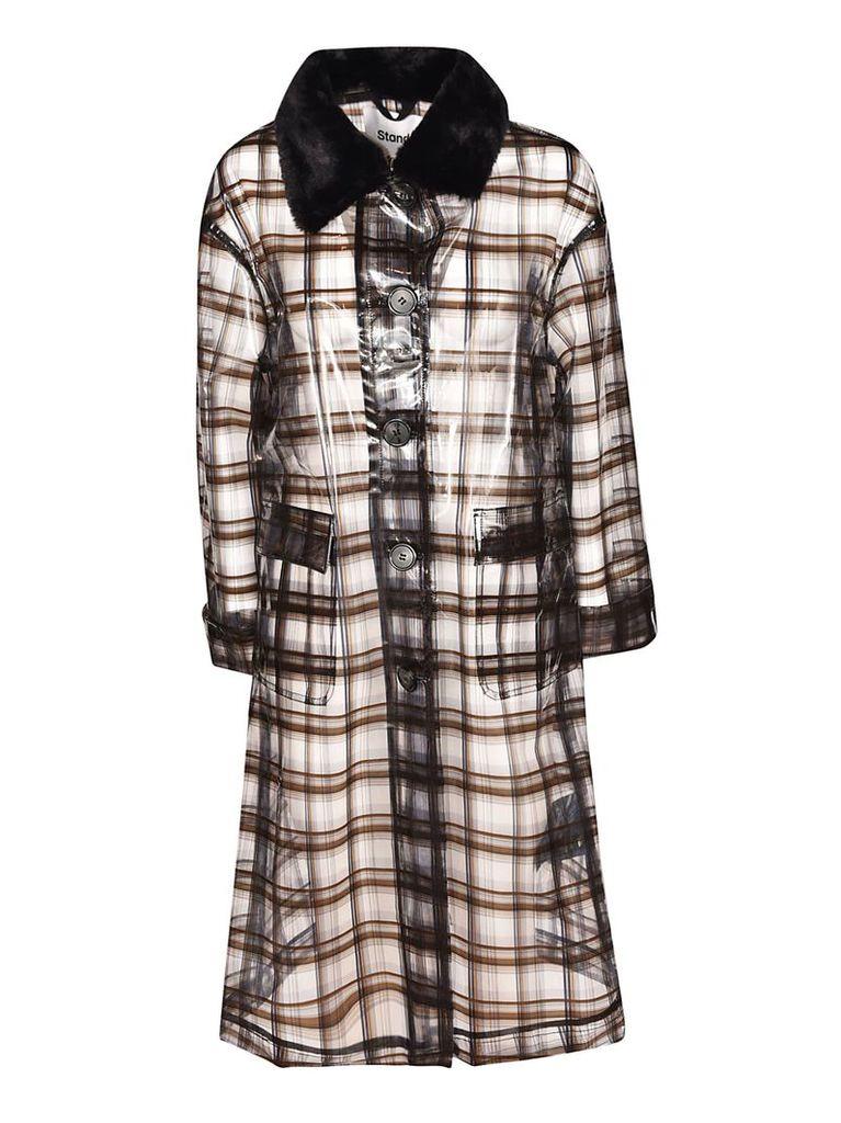 Stand Checkered Print Transparent Coat