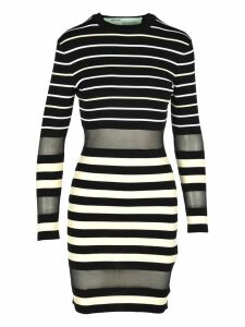 Off White Off-white Striped Mini Dress With Sheer Panels