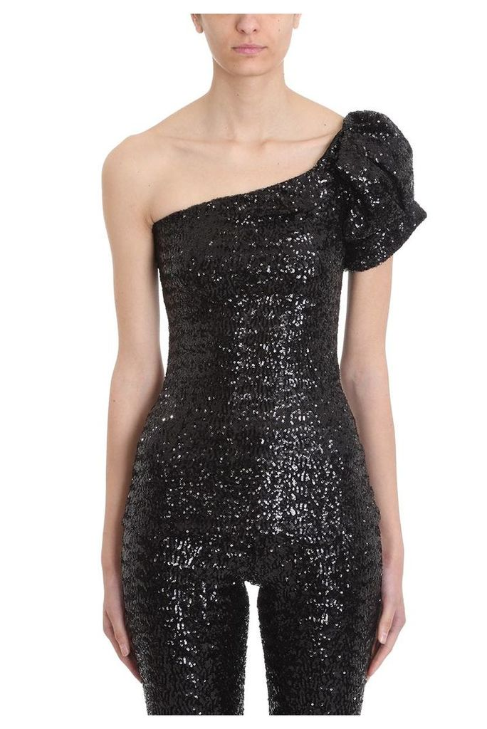 Isabel Marant Ocha Black Asymmetric Sequined Top