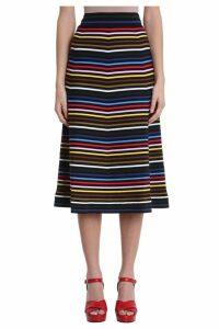 Sonia Rykiel Jupe Stripe Multicolor Cotton Midi Skirt