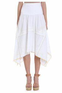 See by Chloé Asymmetric White Cotton Skirt