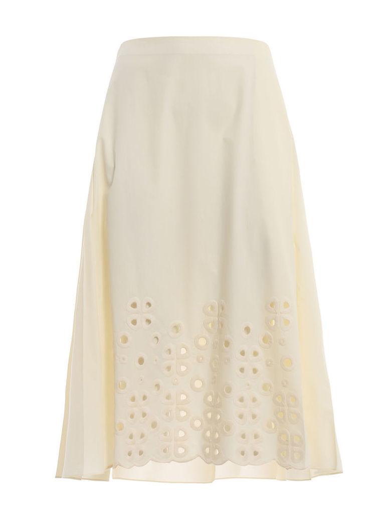 Fendi A-line Embroidered Skirt