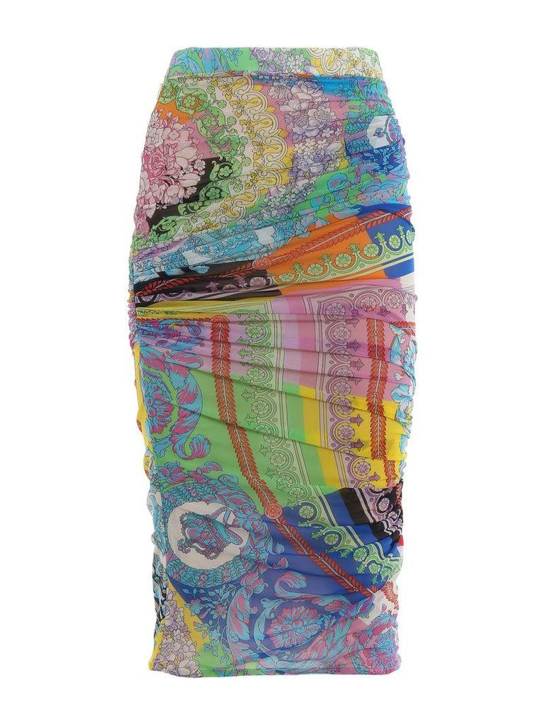 Versace Mixed Print Pencil Skirt