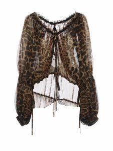 Saint Laurent Leopard Print Chiffon Blouse