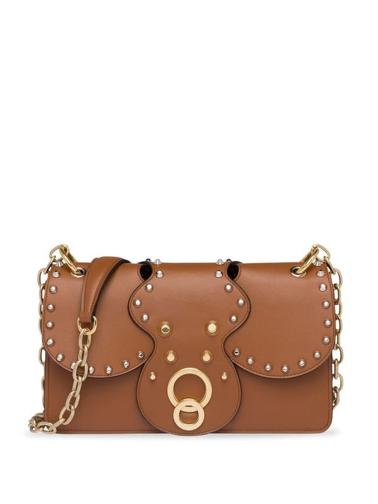 Miu Miu studded shoulder bag - Brown