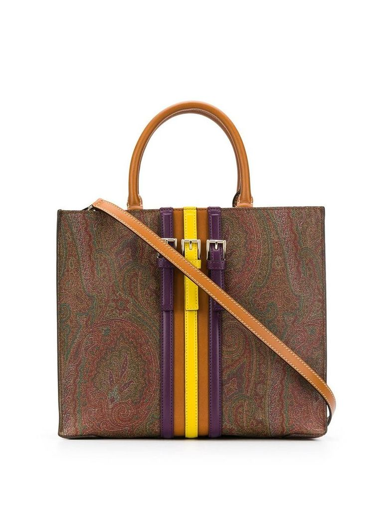 Etro buckle details paisley tote - Brown