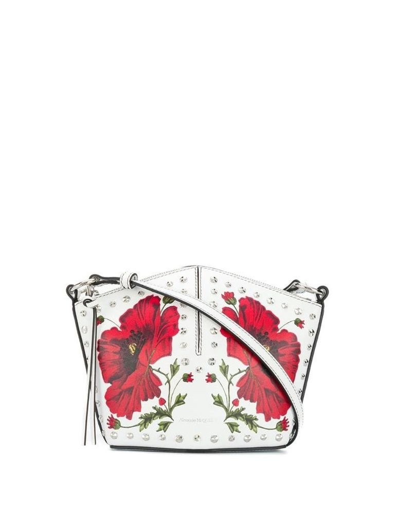 Alexander McQueen floral studded crossbody bag - White