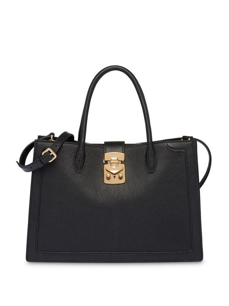 Miu Miu Miu Confidential madras leather handbag - Black