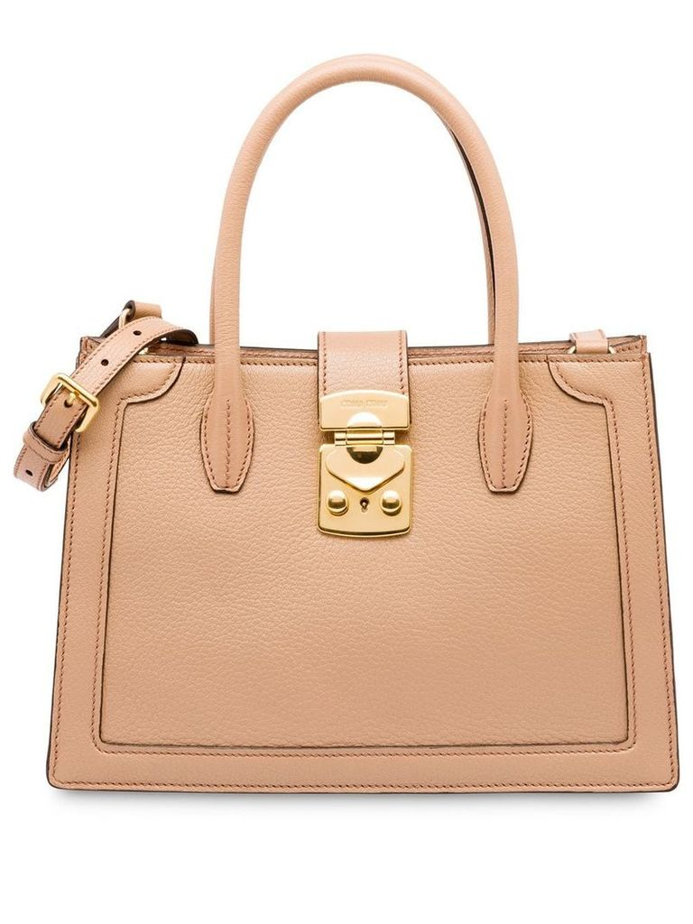 Miu Miu Miu Confidential Madras bag - Neutrals