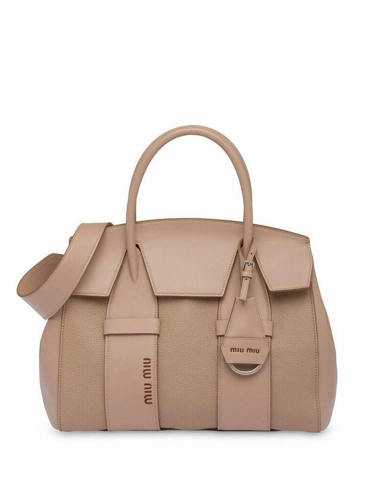 Miu Miu Madras and leather handbag - Neutrals