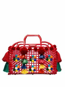 Dolce & Gabbana Red Gomma + Ricamo pom-pom embellished leather trim