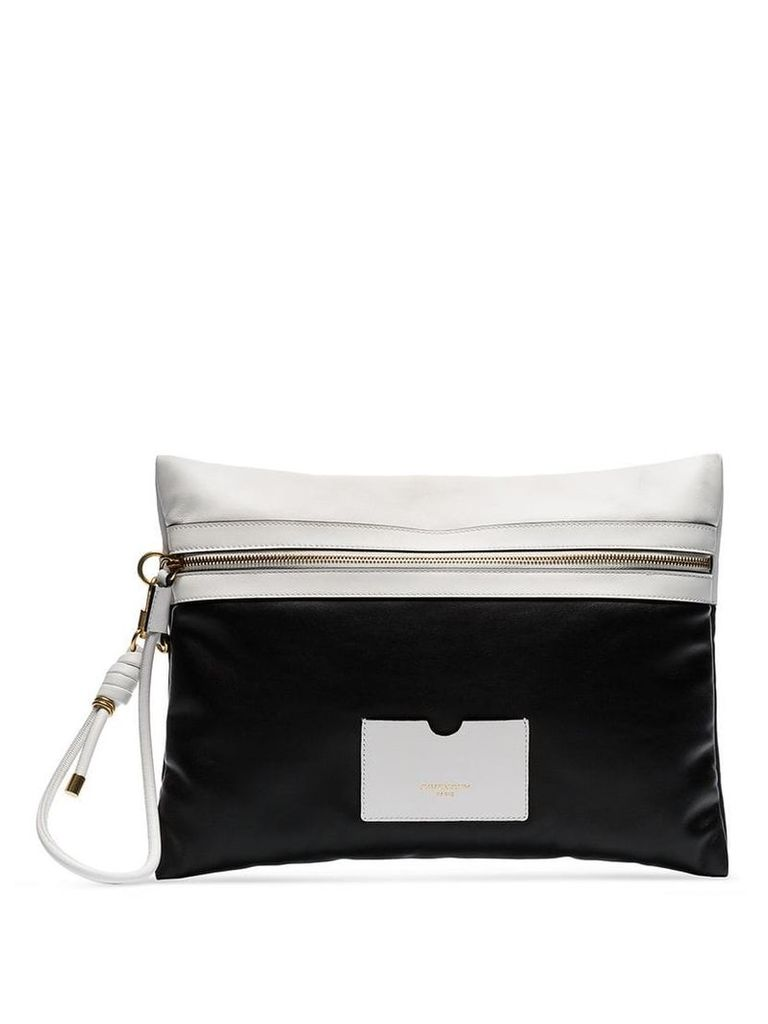 Givenchy Black and White Tag XL leather clutch bag