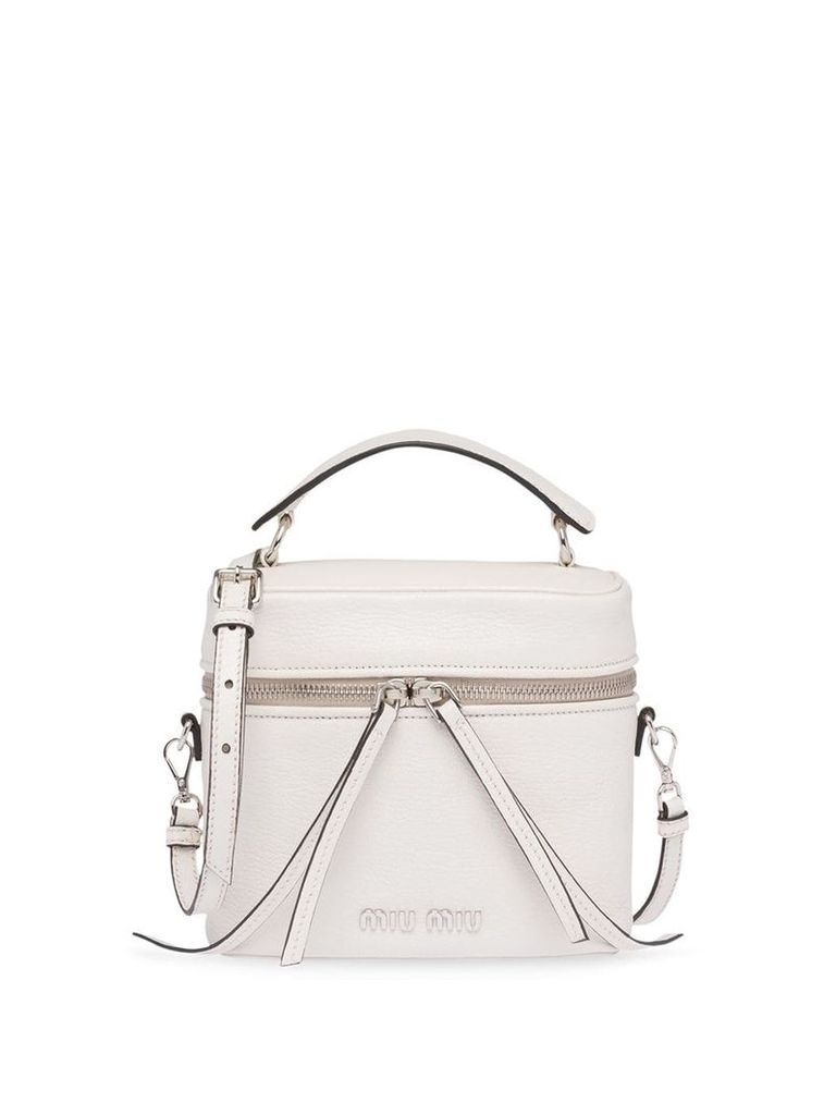 Miu Miu top handles logo bag - White