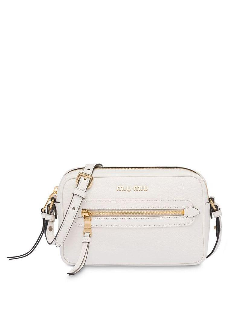 Miu Miu Madras leather shoulder bag - White