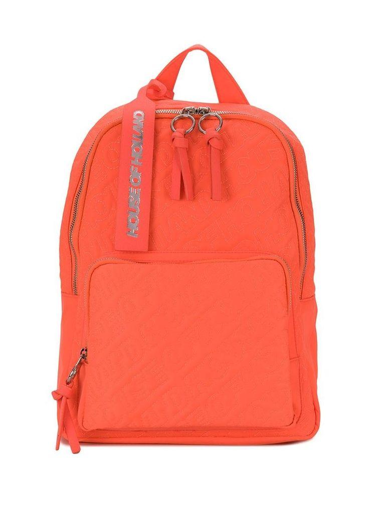 HOUSE OF HOLLAND logo embroidered backpack - Orange