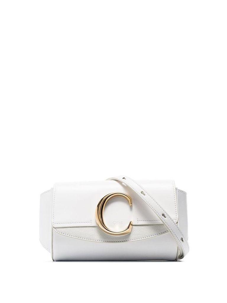 Chloé White C-ring flap-top leather belt bag