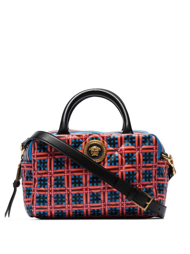 Versace Red and blue Quilted top handle leather cross body bag -