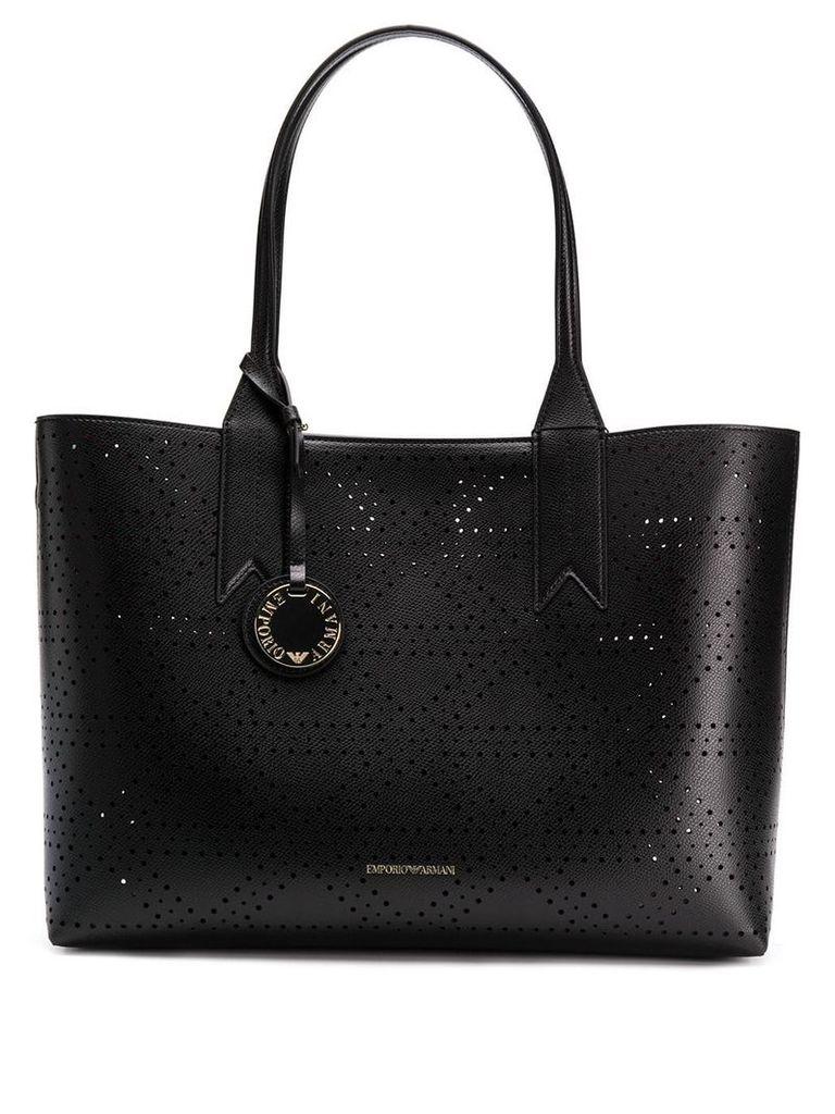 Emporio Armani logo charm tote bag - Black