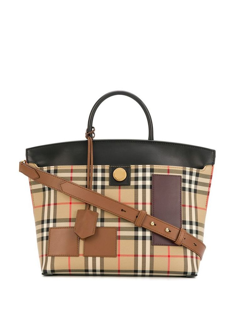 Burberry Vintage Check Society top handle bag - Neutrals