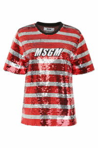 MSGM Sequins Striped Blouse With Logo