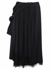 N.21 Black Asymmetric Pleated Skirt