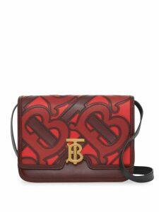 Burberry Medium Monogram Appliqué Leather TB Bag - Red