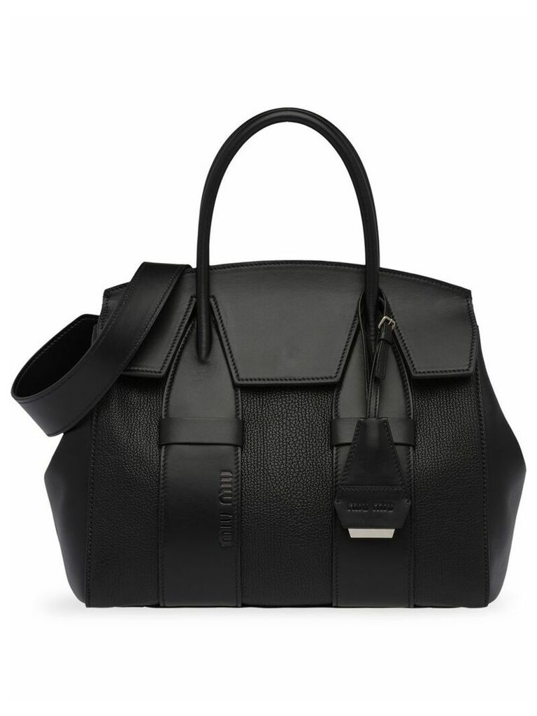 Miu Miu Madras and leather handbag - Black