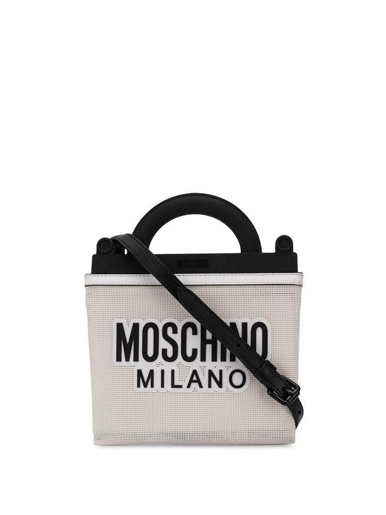 Moschino logo mesh tote bag - White