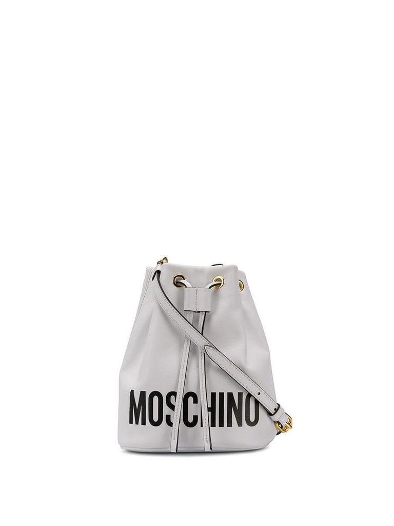 Moschino logo bucket bag - White