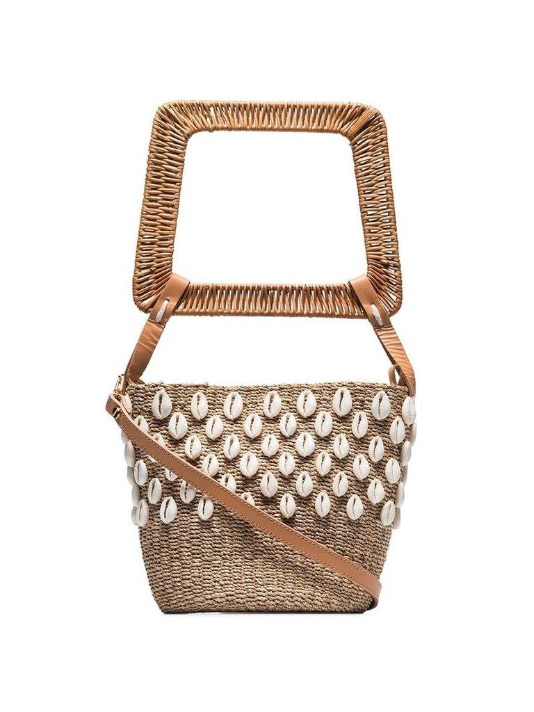 Aranaz Kaia puka shell bucket bag - Neutrals