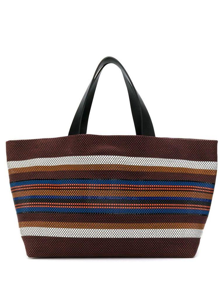 Closed striped tote bag - Brown