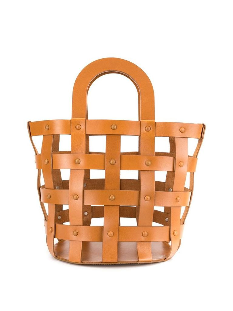 Building Block medium Woven Basket tote - Brown