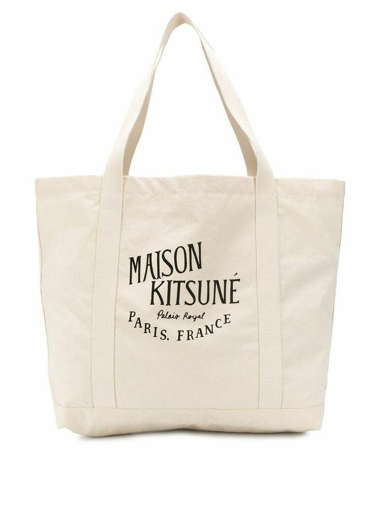 Maison Kitsuné printed logo shoulder bag - Neutrals