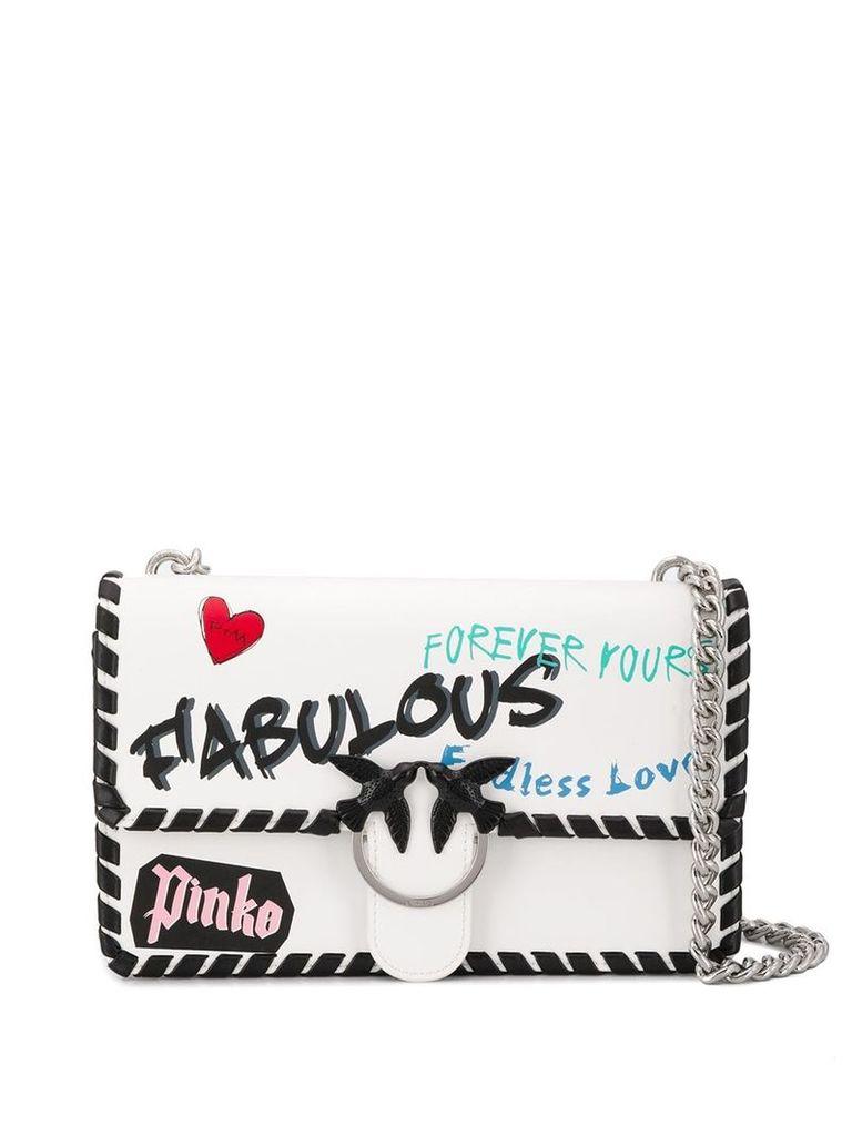 Pinko printed shoulder bag - White