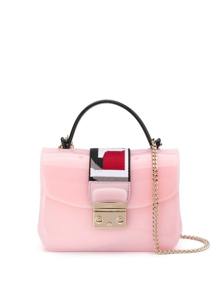 Furla contrast panel cross body bag - Pink