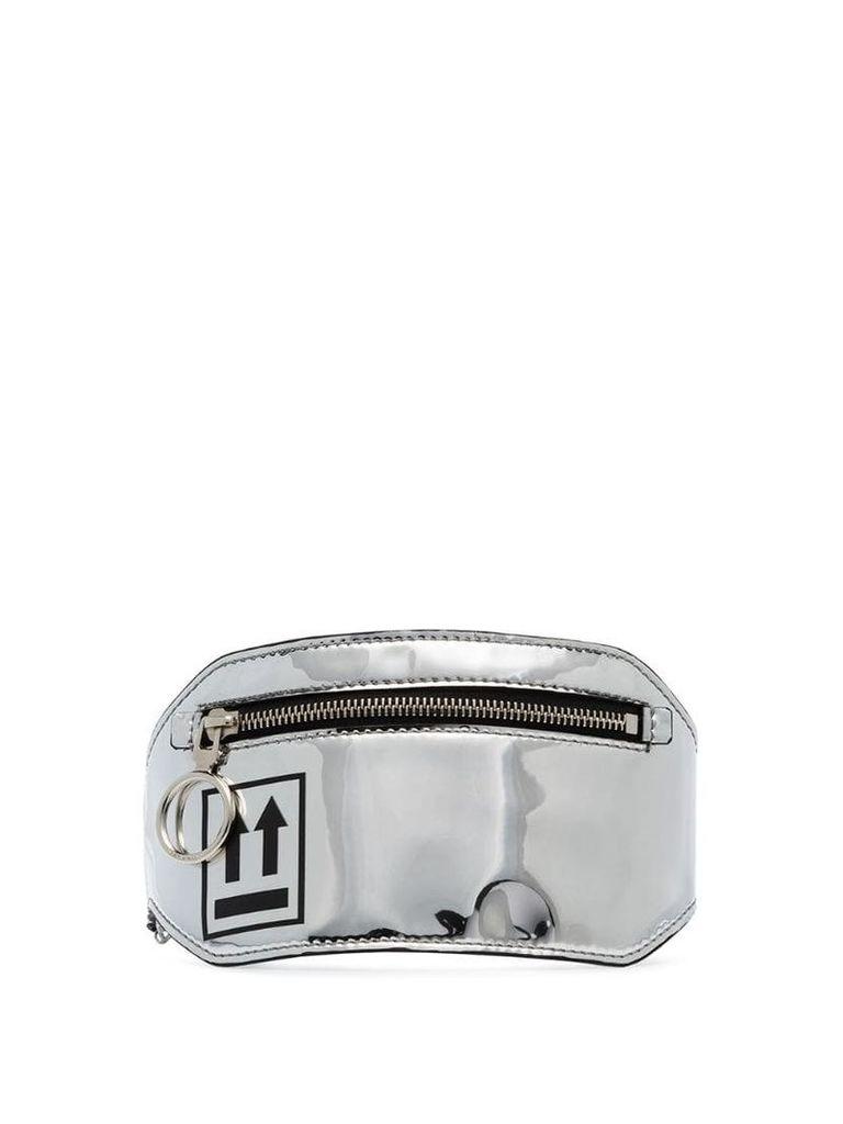 Off-White arrow print leg pouch - Silver